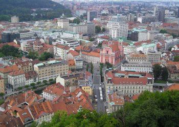 La città di Lubiana vista dall'alto