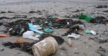 Una spiaggia inquinata
