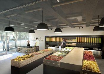 Un rendering di Original Unverpackt, il futuro supermercato senza imballaggi