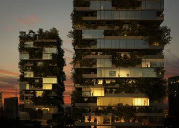 """Un rendering """"serale"""" del Bosco Verticale di Milano"""