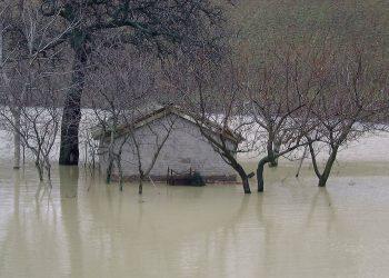 Una casa semi-sommersa dall'acqua