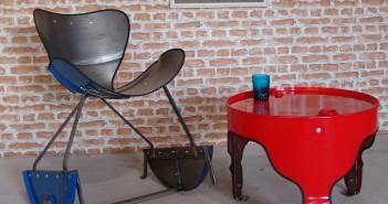 I mobili ricavati da vecchi barili del petrolio di The Urbanite Home (foto: craftcentraluk.blogspot.com)