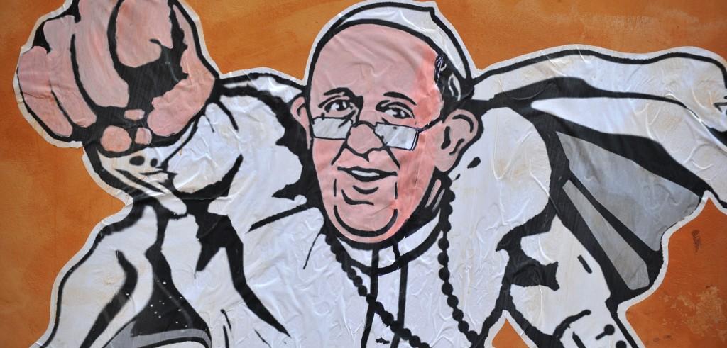 Il murales che raffigura Papa Francesco