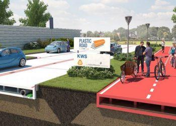 strade fatte di plastica riciclata