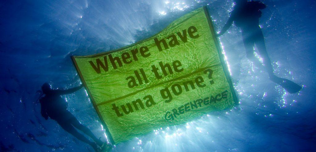 Alcuni attivisti di Greenpeace mostrano un cartello contro la pesca del tonno (foto: greenwire.greenpeace.org)