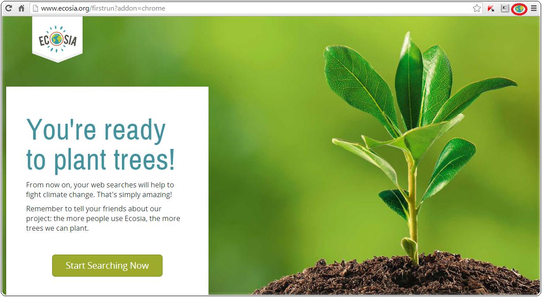 ecosia è un motore di ricerca che utilizza l'80% degli introiti pubblicitari per rimboschire alcune aree del pianeta, scaricarlo è gratuito e velocissimo