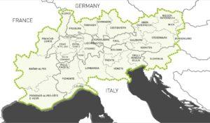 Aree coinvolte nel programma Alpine Space Interreg 2014-2020