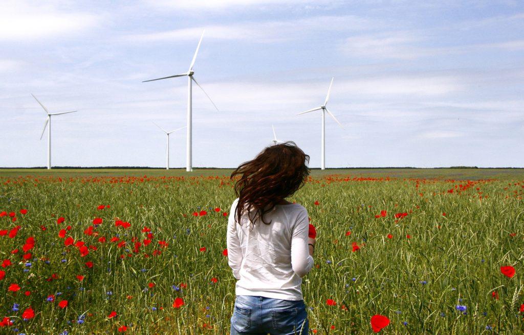 turbine eoliche con prato fiorito di papaveri e ragazza di schiena(https://pixabay.com/)