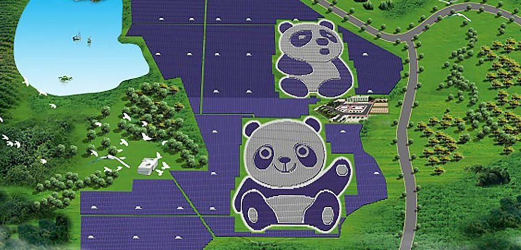 impianto solare a forma di panda