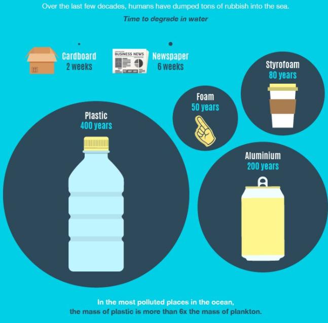 Deterioramenti degli oggetti in acqua (foto: https://www.plasticoceans.org)