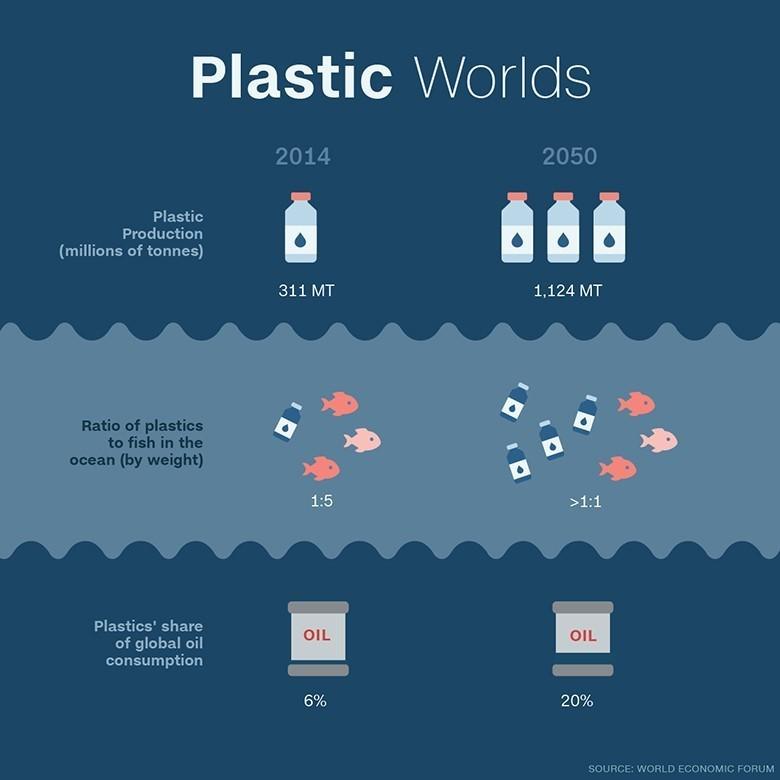 Plastica nel mondo e negli oceani (foto: https://www.weforum.org/)