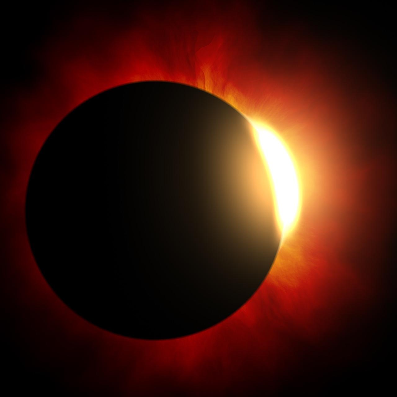 pannelli fotovoltaici con un'eclissi solare